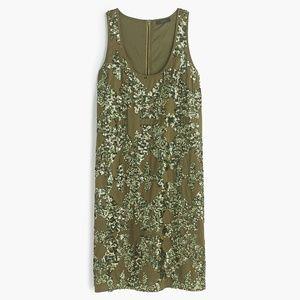 J Crew Olive Green Iridescent Sequin Shift Dress 2